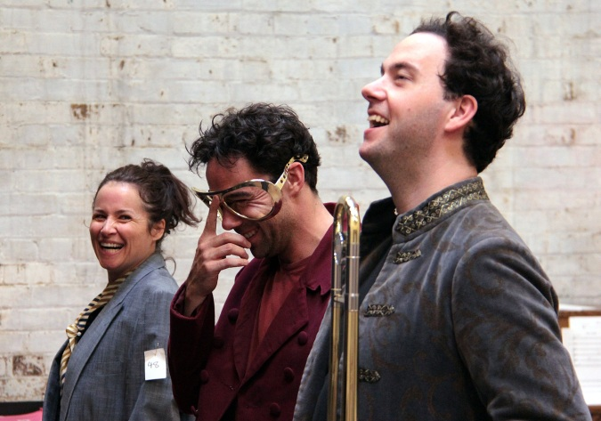 Soulpepper's Alligator Pie in rehearsal, Raquel Duffy, Mike Ross, Gregory Prest. Photo Credit: Nathan Kelly
