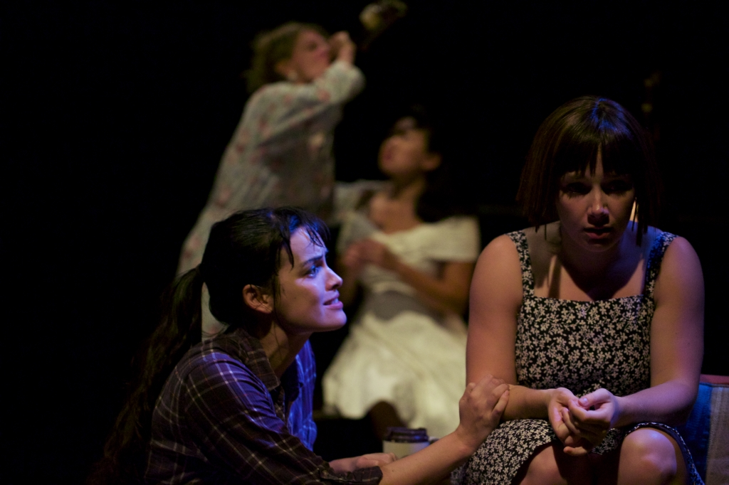 From left: Cosette Derome and Lucy Hill in a scene from Salt. In the bg from left: Philippa Domville and Stephanie Jung. Photo by Robert Harding.