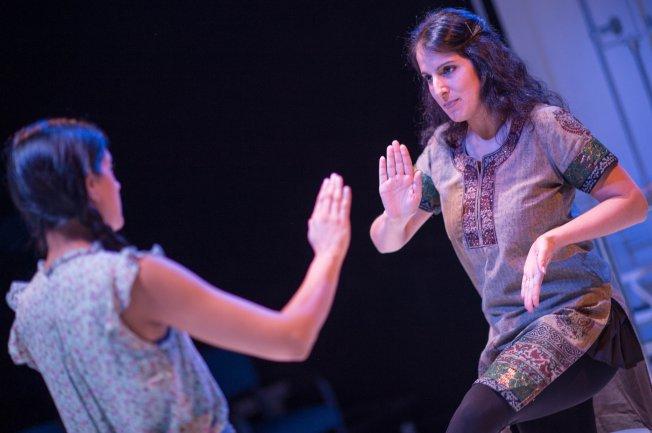 7-dance-lesson-asha-vijayasingham-zorana-sadiq-photo-by-dahlia-katz-the-enchanted-loom-by-suvendrini-lena-nov-5-27-a-cahoots-theatre-production-in-association-with-factory-theatre